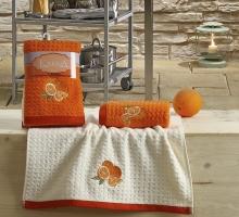 """Кухонные полотенца махровые """"KARNA"""" LEMON 45x65 1/2 Оранжевый"""
