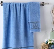 """Комплект махровых полотенец """"KARNA"""" с вышивкой DAVIN 50x90-70х140 см"""