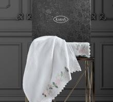 """Комплект махровых полотенец  c гипюр """"KARNA"""" AMORA 50x90-70х140 см 1/2"""