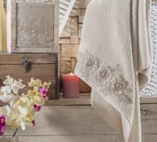 """Полотенце махровое в коробке """"IRYA"""" французский ROMANTIC гипюром (85x150) см 1/1"""