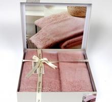 """Комплект махровых полотенец """"KARNA"""" c гипюром ELINDA 50x90-70х140 см"""
