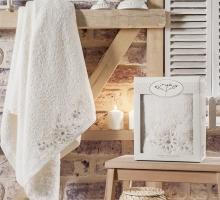 """Полотенце махровое в коробке """"IRYA"""" COOL гипюром (85x150) см 1/1 Mолочный"""