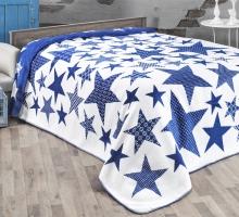 "Плед KARNA хлопок ""STARS"" 180x240 см (голубой)"