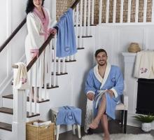 """Набор халат махровый """"KARNA"""" контрастный семейный """"ADRA"""" с полотенце"""